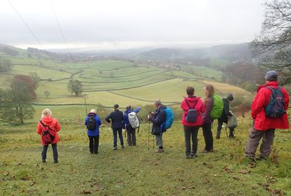 Walkers view the Yorkshire Dales
