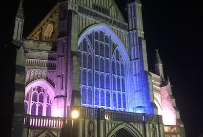 Winchester Cathedral West Front at Night